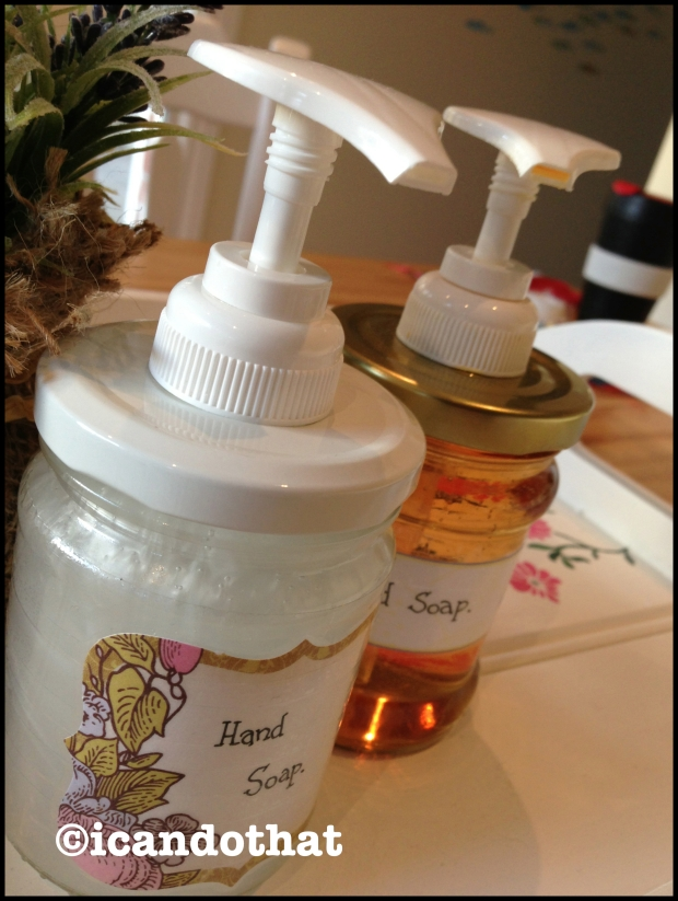 Soap jars with labels