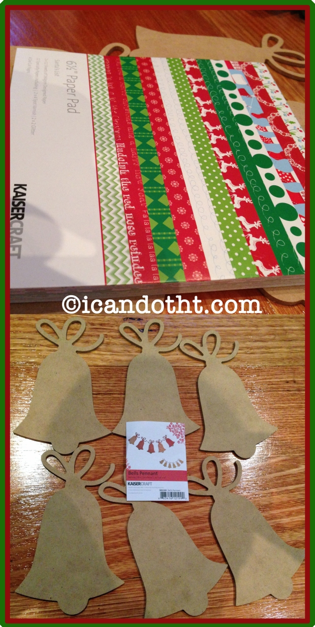 Christmas bells and scrapbook paper