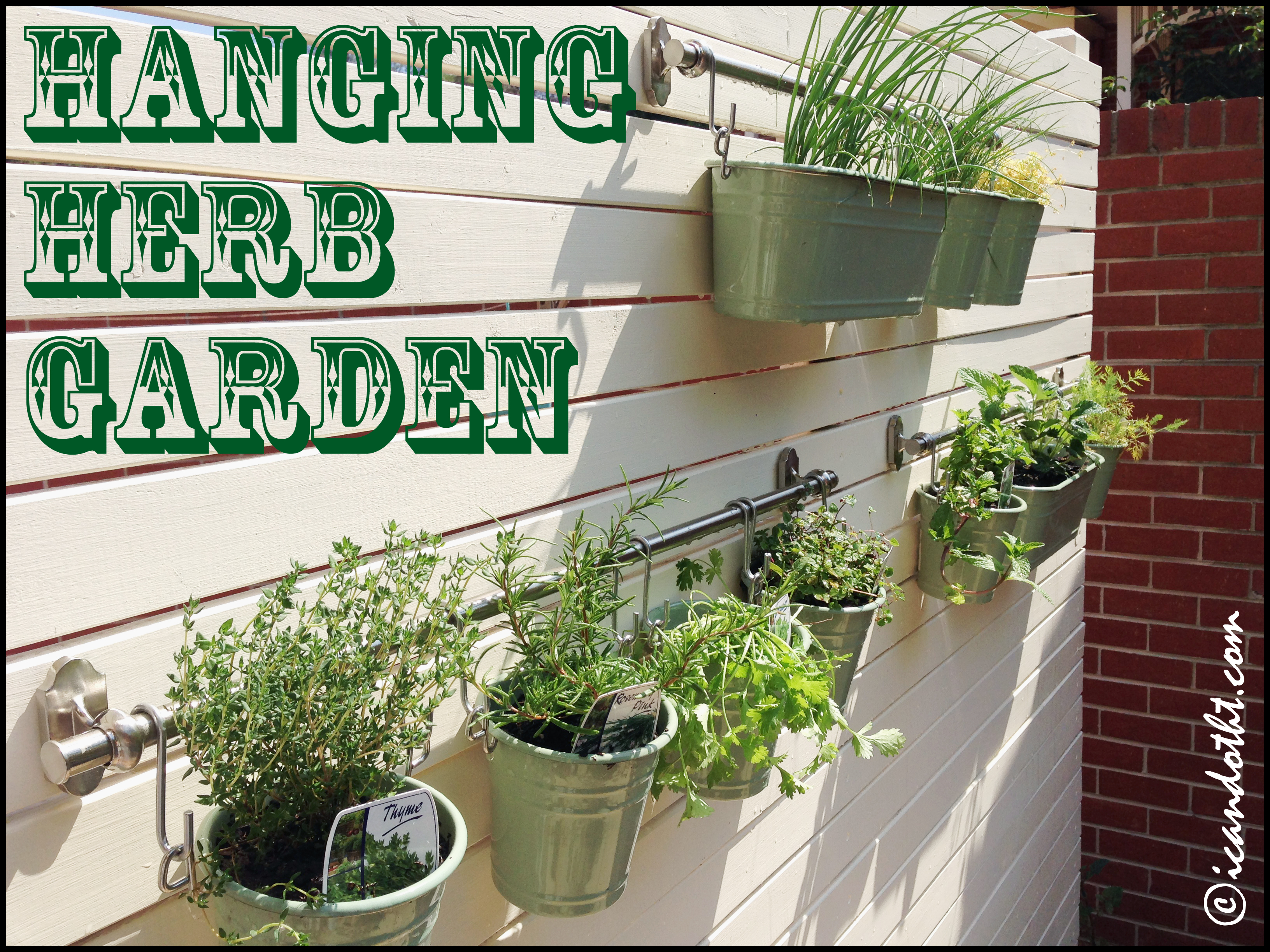 This Is A Super Cute Space Saving Project For The Backyard U2013 Use A Wall Or  Fence To Create A Hanging Herb Garden!