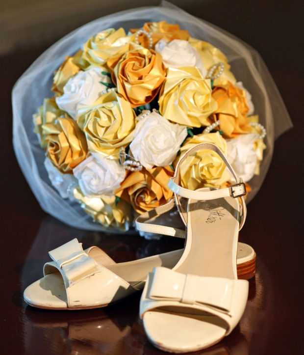 Origami bouquet and shoes