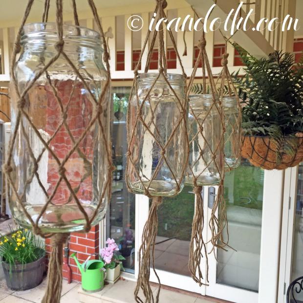 hanging macrame jar holders