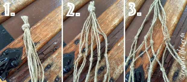 Macrame jar holder steps