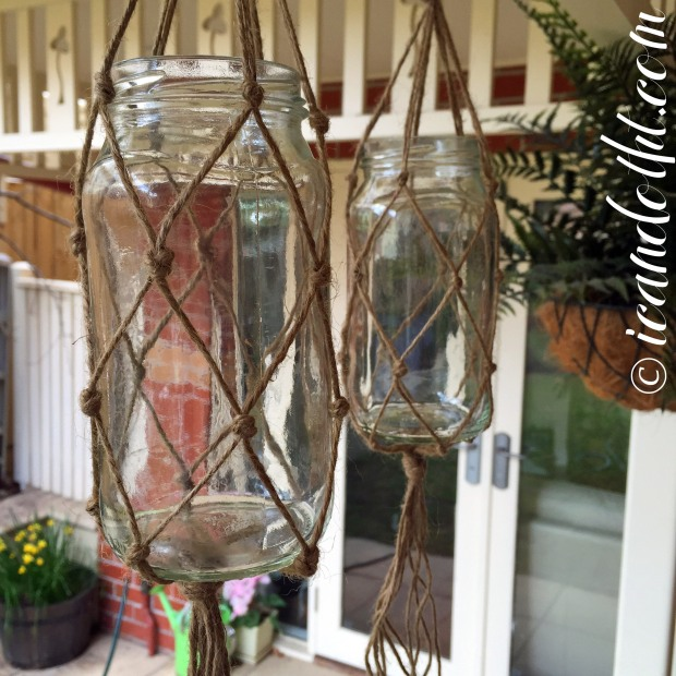 two macrame jar holders