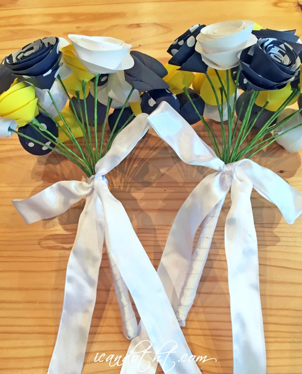 Paper flowers bridesmaid bouquets